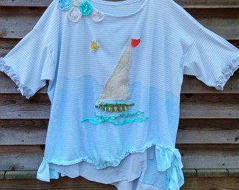 Choppy Waters Nautical Art Tunic Plus Size Made to Order