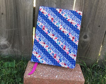 Blue Floral fabric journal