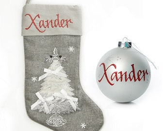 Personalised Silver Tree Stocking and Bauble Pack