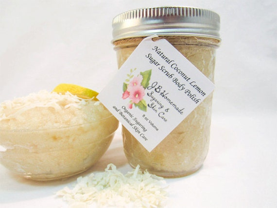 Coconut Lemon Sugar Scrub Body Polish 8 Oz