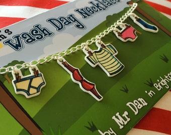 Wash Day washing line necklace