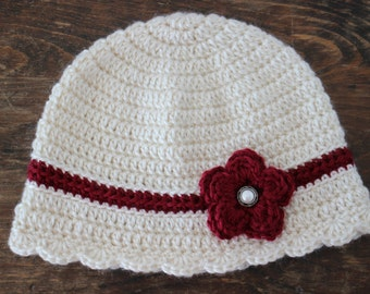 Womens Crochet Hat, Winter Hat, Crochet Hat, Hat with Flower, Cancer Hat, Chemo Hat,