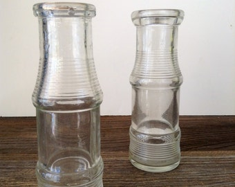 Vintage Cream Milk Bottle, Ribbed Glass Creamer Bottle, 7 Oz. Clear Glass Milk Bottle