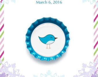 Personalized Baby Bird Shower Favors, Bird Bottle Cap Magnets, baby girl or baby boy shower favors, unique baby shower magnets and ideas