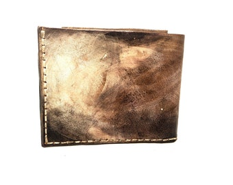 simple brown leather bifold wallet Hand stitched wallet brown vegetally tanned leather wallet cowhyde wallet