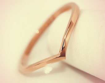 14K Rose Gold Chevron Midi Fashion Ring/ Midi Ring/ Knuckle Ring/ Stacking Ring/ Upper Finger Ring/ Gift for her