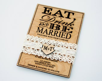 25 Wood Wedding Invitation, Eat Drink And Be Married, Laser Engraved, Wooden  Invitations