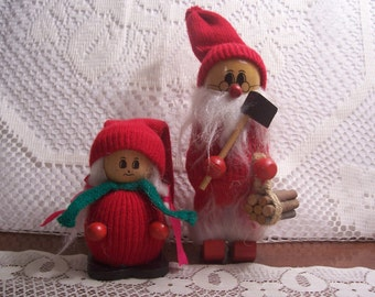 Two Wooden Christmas Elf Figurines