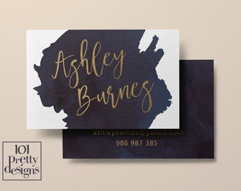 Watercolor business card template gold printable business card design gold and navy business cards custom business card gold foil makeup