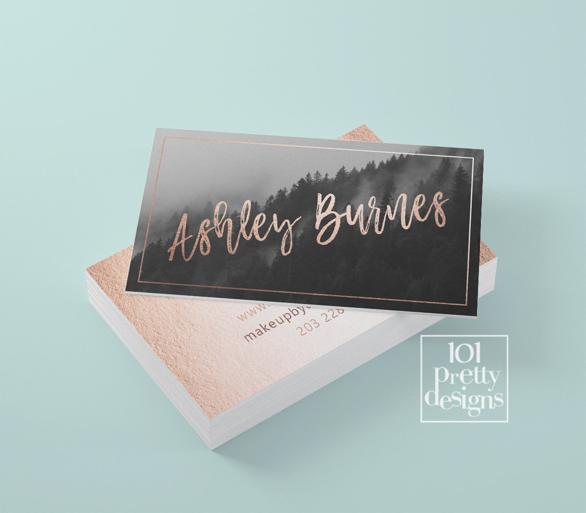 Rose gold business card template gold printable business card