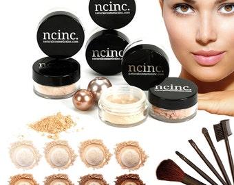 14pc Naked Skin Mineral Makeup Set by NCinc. Complete Kit: Foundation, Blusher, Bronzer, Concealer, Corrector, Miracle Veil + 7 Brushes
