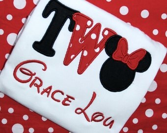 Minnie Mouse Two Birthday Shirt, Mickey Mouse Two Birthday Shirt