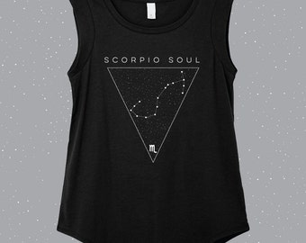 Scorpio Soul | Scorpio  Sleeveless Shirt, astrology shirt, constellation shirt, Zodiac shirt, Zodiac clothes
