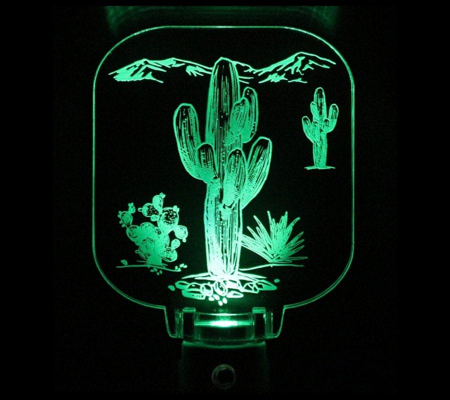 Cactus Desert Saguaro Night light Acrylic Led Sensor Choose
