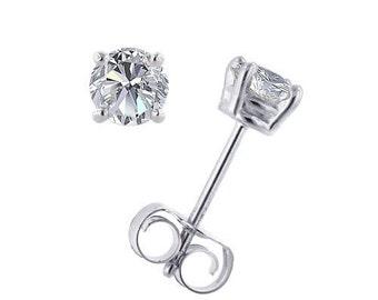 18K White Gold 0.2/0.1/0.05 cts Diamond Earring Stud