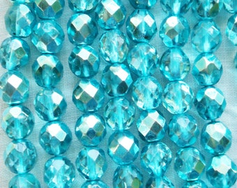 25 8mm Marine Blue Metallic Ice, faceted round firepolished Czech glass beads C9925