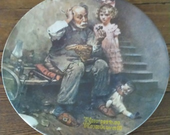 """1978 Norman Rockwell """"The Cobbler"""" Plate By Knowles"""