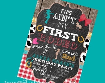 Cowgirl Birthday Invitation Personalized This Aint My First Rodeo Girl  Birthday Invitation