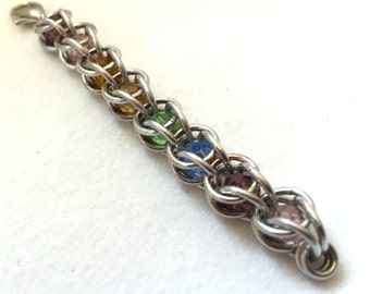 Colorful Crystal Chainmaille Charm Fob - Crystal & Aluminum - Caged Crystals- Chainmail Accessories