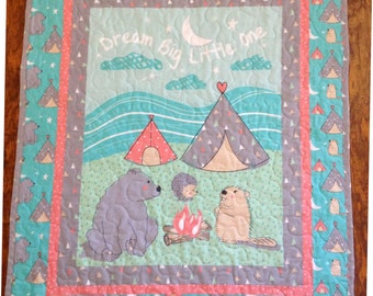 """Super Cute """"Wilderness Wee One Campsite"""" 36""""W x 44L"""" *Stippling Quilted* Baby Crib Toddler Blanket Bedding Napping Stroller Quilt"""