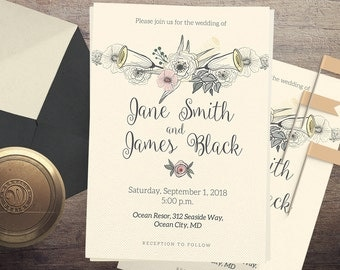 Traditional Wedding Invitation / Wedding Announcement