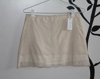 Boho, vintage,lace, ladies size 4 to 6  ,us 2, A-line panelled mini skirt, bold, funky,vintage , cotton, lined, one of a kind, unique,summer