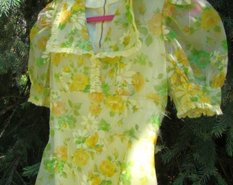 1950s Summery Yellow Floral Gown Empire Waist Short Sleeve - Size M