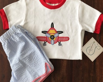 SALE Applique Airplane Short Set