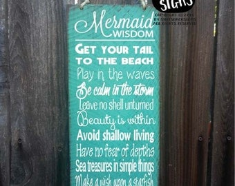 mermaid sign, mermaid decor, advice from a mermaid sign, mermaid decoration, mermaid wall decor, mermaid widsom, 56/108