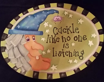 Halloween Hand Painted Wooden Plate