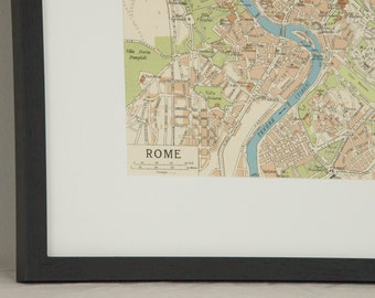 Framed 1964 Rome Italy Vintage Map