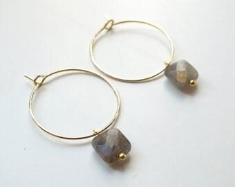 Earrings SALONI // Semiprecious stone, Labradorite Gemstone