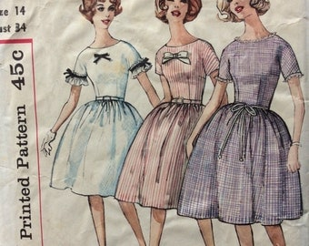 Simplicity 4301 misses dress in proportioned sizes size 14 bust 34 vintage 1960's sewing pattern