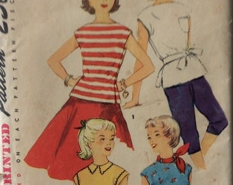 Simplicity 1017 girls pullover top size 12 bust 30 vintage 1950's sewing pattern