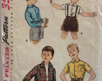 Simplicity 1369 vintage 1950's boys shirt sewing pattern size 6