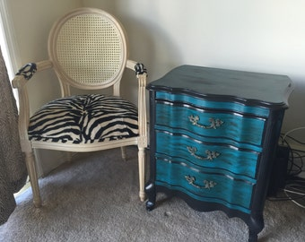 Antique painted nightstand end table