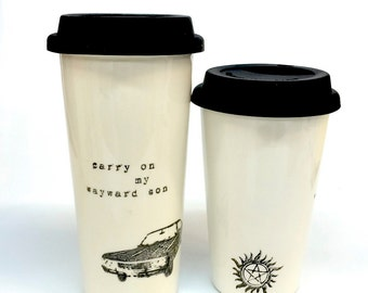 Supernatural Carry On Baby Impala ceramic travel mug grande or venti