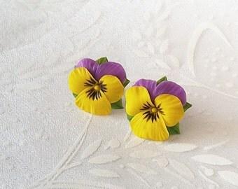 Pansy earrings - Clay flower earring - Clay flowers - Floral earrings