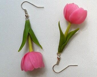 Tulip earrings- Floral earrings- Pink flower earrings -Clay flowers earrings