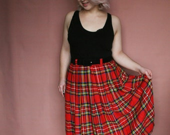 80s VINTAGE Red TARTAN / Checked WOOL Skirt - Size (Code: 211A)
