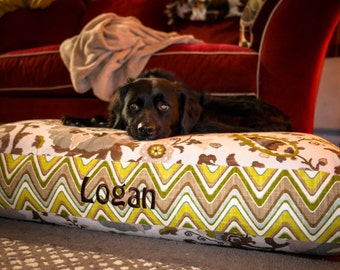 Sydney Dog Bed - Large - Personalize with Your Pups Name - Neutral Ikat and Chevron Fabrics - Custom Cover