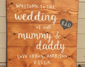 Welcome To The Wedding of Mummy + Daddy - Personalised Wooden Sign