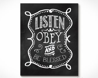 Listen, Obey & Be Blessed Wall Print for Jehovah's Witnesses .Great for a Childs Room. Nice Baby Shower Gift Idea.