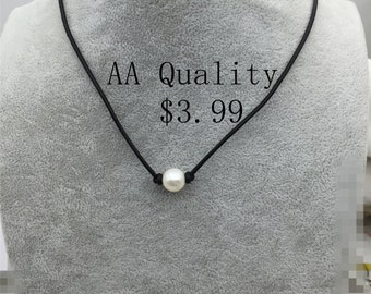2.99 USD Leather Pearl Choker,AA Pearl,Pearl Leather Necklace, bracelet,White Freshwater pearl, Black Leather Pearl necklace,Le3-035