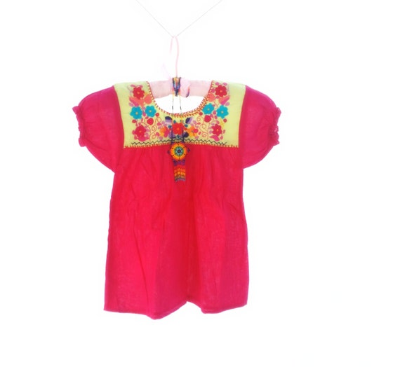 Handmade embroidered mexican baby dress size years by