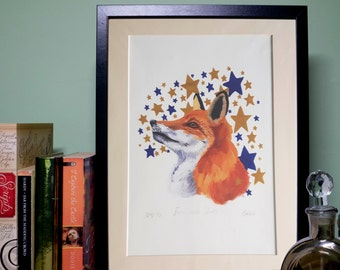 A4 Archival Giclee Fox and Stars Print