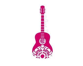 Custom Monogram - Acoustic Guitar - Cooler Decal - Laptop Decal - Guitar Monogram - Guitar Decal - Vinyl Decal - Guitar Player Gift