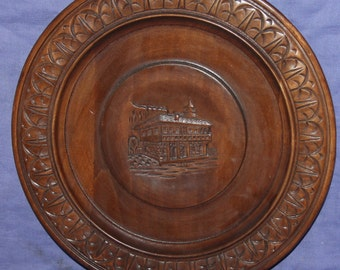 Hand Carved House Wood Plate
