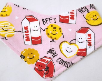 Cookies and Milk friends bandana bib, baby shower gift, drool bib