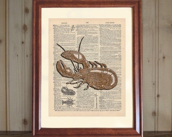 Lobster Dictionary Print, 3D Lobster Print, Lobster Drawing, Lobster Wall Art, Seafood Art Decor, Lobster Print on 5x7 or 8x10 Canvas Panel